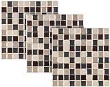 infactory Mosaik Klebefolie: Selbstklebende 3D-Mosaik-Fliesenaufkleber, 25,5 x 26,5 cm, 3er-Set (Fliesen Klebefolie)