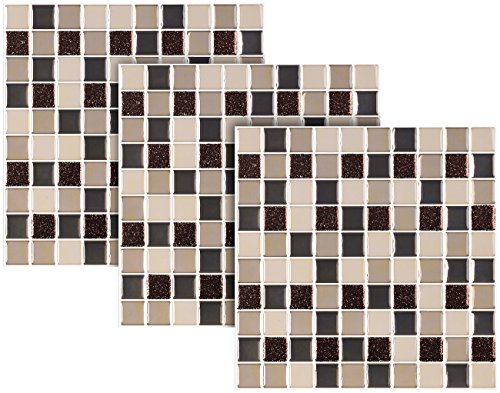 infactory Mosaik Klebefolie: Selbstklebende 3D-Mosaik-Fliesenaufkleber, 25,5 x 25,5 cm, 3er-Set (Klebefolie Fliesen)