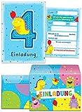 12 Einladungskarten zum 4. Kindergeburtstag + 12 Umschläge / blau / schöne Einladungen zum Geburtstag für Jungen und Mädchen