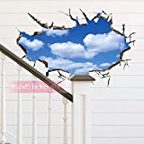 WandSticker4U- Wandtattoo in 3D Optik: Wolken am Himmel   60x90 cm   Wandsticker Wandbild Poster Deko Fototapete Wohn-Schlafzimmer Badezimmer Küche GROSS