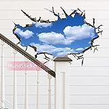 WandSticker4U- Wandtattoo in 3D Optik: Wolken am Himmel | 60x90 cm | Wandsticker Wandbild Poster Deko Fototapete Wohn-Schlafzimmer Badezimmer Küche GROSS