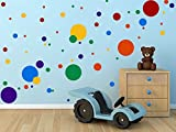 #1: DCTOP Polka Dots Wall Decals(132 Decals) Easy to Peel&Stick Polka Dots Wall Decals Safe on Walls Paint Removable Primary Colors Vinyl Polka Dot Decor Round Wall Stickers for Nursery Room (Multicolor)