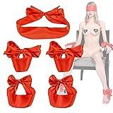 Cinghie di seta per mani e piedi con maschera per gli occhi Manette e leghi regolabili BDSM Coppie che flirtano Bondage Ritenuta Giocattoli per adulti,red