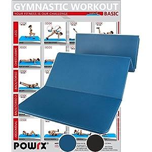 POWRX Gymnastikmatte Faltbar inkl. Workout PVC Frei 180 x 60 x 1,5 cm Blau oder Schwarz | Trainingsmatte Pilatesmatte Fitnessmatte Bodenmatte Yogamatte