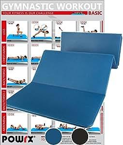 Tapis de gymnastique pliable 180 x 60 x 1,5 cm - Pratique et anti-dérapant - Disponible en couleur bleu ou noir (Bleu)
