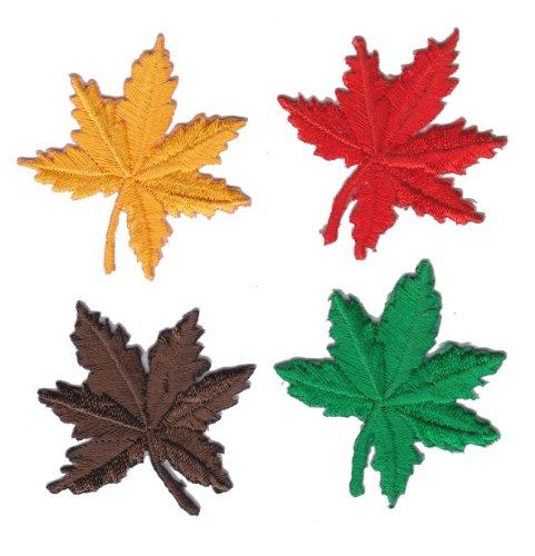 Set von 4Autumn Maple Leaf Eisen auf Sew auf Vollständig bestickt Patch aus Aufnähen -