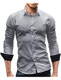MERISH Slim Fit Hommes Chemise en lin manches longues chic et décontracté bicolore tissu léger parfait pour les chaudes journées d'été Modell 113