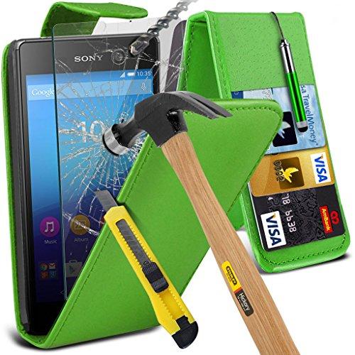 Étui pour Sony Xperia M5 / Sony Xperia M5 E5603, E5606, E5653 Titulaire de téléphone Case voiture universel Mont Cradle Dashboard & pare-brise pour iPhone yi -Tronixs Leather Flip + Glass ( Green )