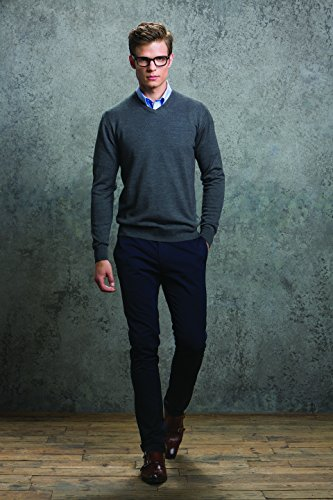 KUSTOM KIT Herren Sweatshirt Merino Blend Grey (Dark Grey Melange)