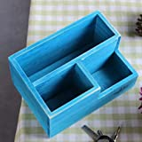 Vstylife Retro Holz Desktop Blumentopf Lagerung Multifunktions Distressed Holzkiste Kreative Sukkulenten Balkon Büro Desktop Geschenk (Color : Blue)