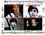 Les timbres Beatles - Paul McCartney - 4 photos du légendaire Beatle - Monnaie et feuillet neuf avec 4 timbres