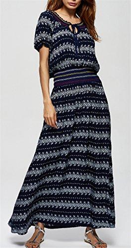 Die Frauen elegante Kurzschluss-Hülsen-elastische Taillen-großer Rand-lange Kleid-Ferien-Strand-Kleid Schwarz