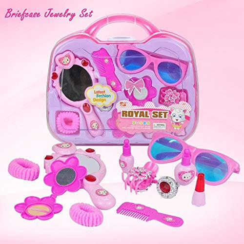 Welltobuy Kinderspielhaus Spielzeug, Kinder Pretend Play Kosmetik und Make-Up Spielzeug Set Kit Schönheitssalon Tragbare Kosmetikkoffer Geschenk für Mädchen