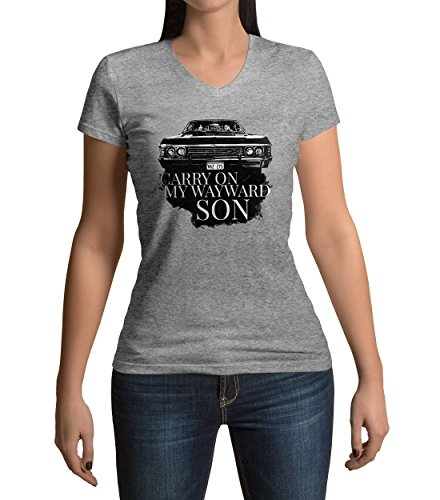 Printed V-neck Tee (Carry On My Wayward Son Damen V-neck T-shirt)