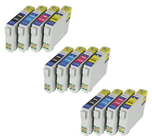 Galleria fotografica 12cartucce XL per stampante con Chip e Indicatore di livello per Epson WorkForce 2010, WF 2510, WF WF-2510WF WF-2010W, WF, WF 2520, WF-2540, WF, WF–2530, WF-2520NF, WF-2530WF, WF-2540WF, WF-2630WF 2630WF, WF, WF-26602650, WF-2650DWF, WF, WF WF-2660DWF