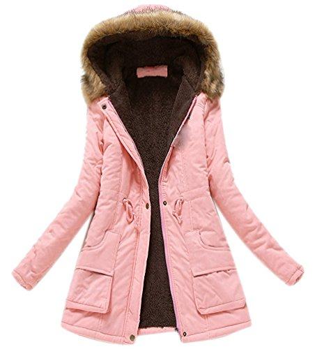Minetom Damen Stehkragen Trenchcoat mit Gürtel Wollmantel Länge Zweireihige Winterjacken Parka Rosa DE 34
