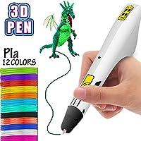 Bolígrafo de impresión 3D, bolígrafos 3D profesionales inteligentes con filamento PLA Recargas de 12 colores para adultos y niños Artesanías Modelo DIY