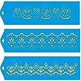(Satz von 3) 28cm x 8cm Flexibel Kunststoff Universal Schablone - Wand Airbrush Möbel Textil Decor Dekorative Muster Design Kunst Handwerk Zeichenschablone Wandschablone - Blätter Blumen