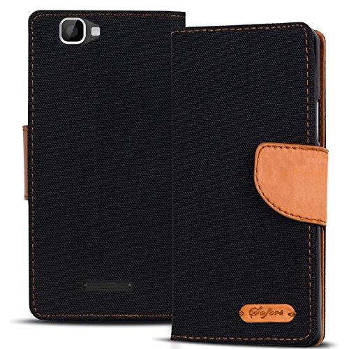 Conie TW44567 Textil Wallet Kompatibel mit Wiko Rainbow, Textil Hülle Klapptasche mit Kartenfächer Etui Slim Cover für Rainbow Handyhülle Jeans Schwarz
