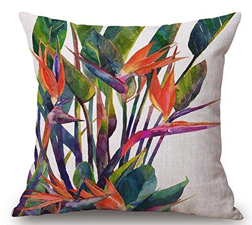 DCOCY American Land Pastoral Stil wunderschönen Tropischen Zierpflanzen, Bird of Paradise Baumwolle Leinen Überwurf Kissen Fall Personalisierte Kissenbezug 18× 45,7cm Paradiso Leinen