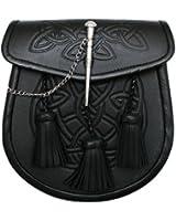 Kiltsporran im keltischen Muster mit 3 Troddeln und Gürtel - Schwarz