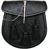 Tartanista - Sporran para kilt escocés - Con diseño celta, cierre de pasador y 3 borlas - Negro