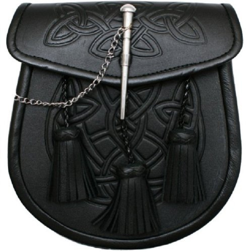 Preisvergleich Produktbild Kiltsporran im keltischen Muster mit 3 Troddeln und Gürtel - Schwarz