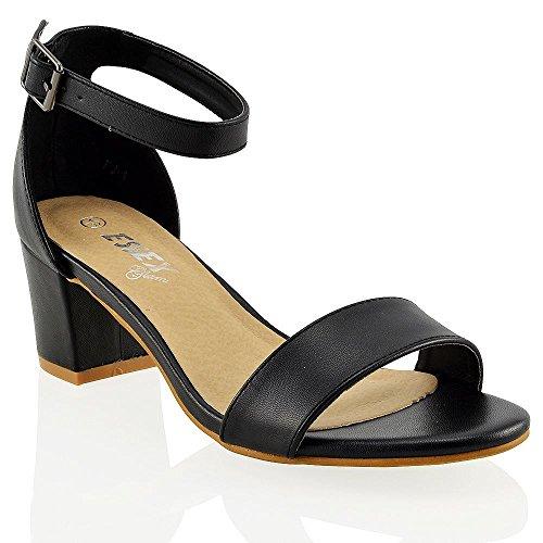 Essex Glam Sandalo Donna Sintetico Tacco Medio-Basso con Cinturino alla Caviglia Nero Sintetico