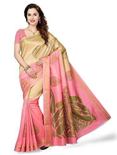 ishin Art Silk Saree With Blouse Piece(Ishinrtrwzsrk-7339_Beige & Pink Free Size)