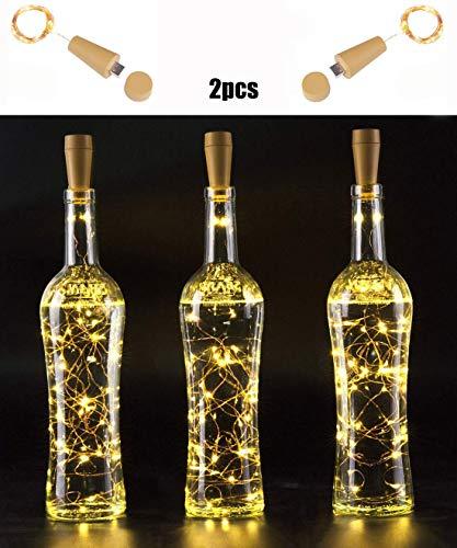 Flaschenlichterkette Korken USB,N2N 20 led flaschenlicht (2PCS),2M Flaschenlichter Lichterketten kupferdraht lichterkette[Warm-weiß] für Flaschen-Licht DIY Deko,Party,Weihnachten, Halloween, ()