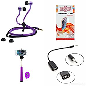 KONARRK 4 in 1 Combo of Selfie Stick Purple, Zipper Earphones Purple, Handsfree Splitter Black and Tempered Glass for MICROMAX 5530