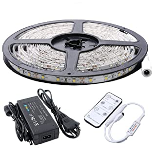 Auralum 5M SMD 3528 300 LEDs 12V 24W 1200LM IP65 Staubdicht Wasserdicht dustproof Warmweiss LED lampe Band Leiste Strip Streifen Lichterkette Schlauch + Fernbedienung + Netzteil