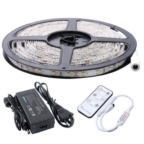 Auralum 5M SMD 3528 300 LEDs 12V 24W 1200LM IP65 Staubdicht Wasserdicht dustproof Warmweiss LED lampe Band Leiste Strip Streifen Lichterkette Schlauch + Fernbedienung + Netzteil
