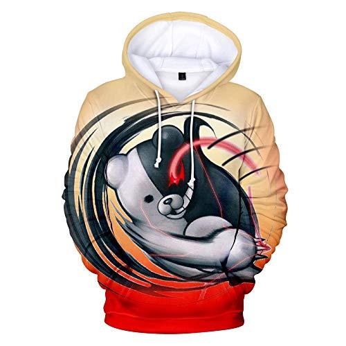 XH 3D Männer Und Frauen Hoodie Danganronpa Monokuma Hoodie Cartoon Schwarz Und Weiß Bär Cosplay Kostüm Hoodie Weihnachten (Größe: (Schwarze Bären Kostüm)