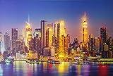 Dapo LED Leinwandbild New York oder Skyline 3D Wandbild mit Beleuchtung Bild 40x60cm Wanddekoration LED-Bild (Skyline 40x60cm)
