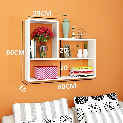 Yl home libreria sospesa galleggiante a tre piani da parete, soggiorno 80 x 15 x 60 cm a++ (colore : 1)