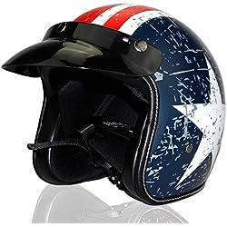 WMIAO Casco Locomotor De Harley, Medio Casco Adulto Retro. Capitán América Casco Eléctrico del Coche (S, M, L, XL),E,S
