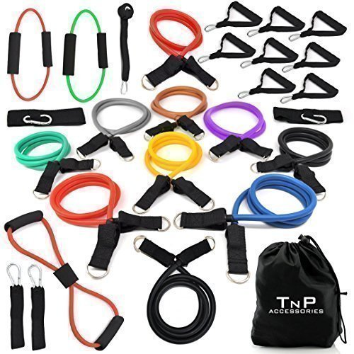 Resistance Bands Set | Exercise Bands | Home Gym Fitness Equipment | Workout Bands | Exercise Equipment for Pilates Yoga Core Training - TNP Accessories (26 Piece Set)