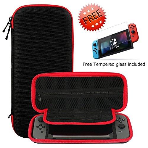 Nintendo Switch Funda + Protector de Pantalla de Vidrio Templado de Alta Calidad, SHareconn Portátiles Portátil duro de Viaje Bolsa de Almacenamiento con 10 Cartuchos de Juego (Negro & Rojo)