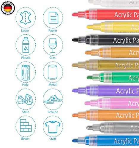 Acrylstifte Acrylic Painter Deco Pen - geeignet für verschiedene Oberflächen Keramik Stoff Glas Stein Holz Metall - 12 lebhafte Farben auf Wasserbasis -