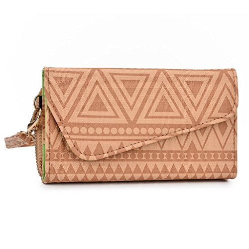 Kroo Pochette/étui style tribal urbain pour Huawei Ascend P7 White and Orange Brun