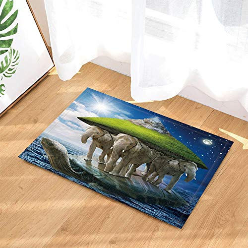 JHTRSJYTJ Fantasy Mythologie Kreatur meeresschildkröte Elefanten Insel Noahs Arche Rutschfeste tür Matte badematte 15.7x23.6in