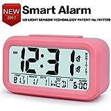 TXL Eletronic Desk Alarm Clock with Multiple Alarm Group, LCD Screen, One Smart Key, Smart Light Sensor,Backlight,Easy to Set Fashion Style Digital Office Home Alarm Clock Beside for Teens,Kids,Heavy Sleepers,Pink