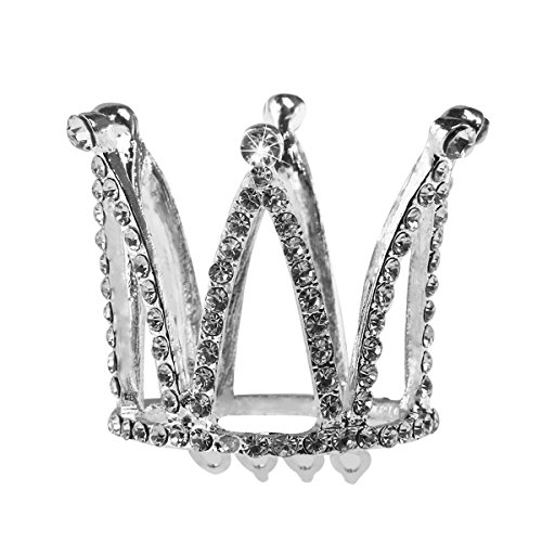 PIXNOR Kristall Strass Diademe Krone Haarreif mit Haarkamm für Blumenmädchen (Silber) (Kronen Und Diademe)