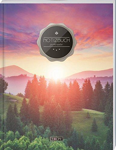 """TULPE Punktraster Notizbuch A4 """"C041 Horizont"""" (140+ Seiten, Vintage Softcover, Punktkariertes Papier - Bullet Journal, Dickes Notizheft, Skizzenbuch, Tagebuch, Gepunktete Seiten, Dot Grid Notebook)"""