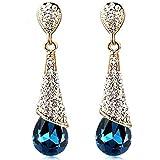 Yidarton multi-colore goutte d'eau cristal plaque or zirconium boucles d'oreilles bijoux femme -- boucles d'oreille pendantes