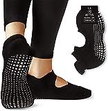 LA Active Grip Chaussettes Antidérapantes - Pour Yoga Pilates Barre Femme Homme - Ballet - Noir - Taille (M)EU 37 - 41.5