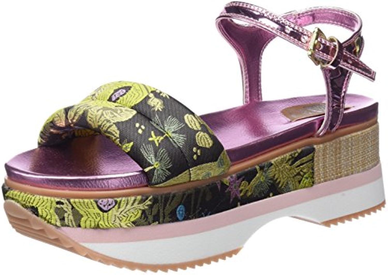 Las Sandalias de Tacón de Herradura Hechas a Mano de Cuero de Las Mujeres Aumentaron la Altura del Tacón de Cuña de los Zapatos Romanos 37.5EU/4.5UK(Foot length 24cm)|Color