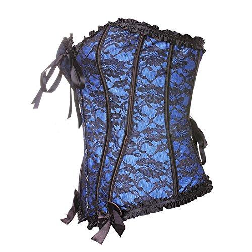 Vertvie damen Vintage Korsett Corsagen Vollbrust schnürkorsett Corsage Taillen Top Hochzeit Bustiers Corset Cincher Shaper mit Spitzen Blau