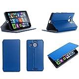 Microsoft Lumia 950 XL Dual Sim Tasche Leder Style blau Hülle Cover mit Stand - Zubehör Etui smartphone 2015 Lumia 950 XL Flip Case Schutzhülle (Handy tasche folio PU Leder, blue) - Brand XEPTIO accessoires